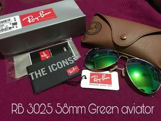 Clearance Sale: Authentic Ray-Ban Sunglasses RB 3025 Green aviator 58mm
