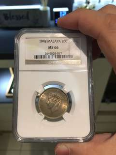 1948 MALAYA 20cents NGC MS 66