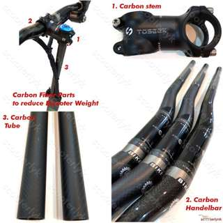 Carbon Fiber Parts to Reduce Weight (Stem, Handlebar or Steerer Tube) for Escooters