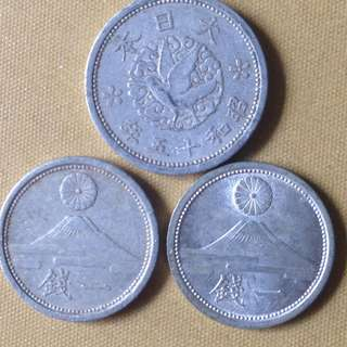 Japan 1 Cent yrs 15,16 &18 coins