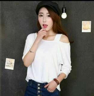 【#女裝半價拉】💝韓版寬鬆顯瘦單邊吊帶露肩百搭素T(白色)