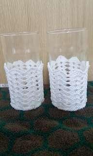 Crocheted glass holder