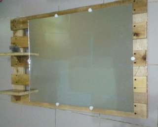 Rustic Wall Mirror with Wood Frame