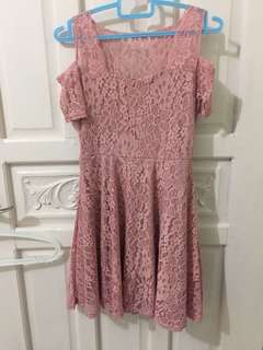 Nude pink dress lace
