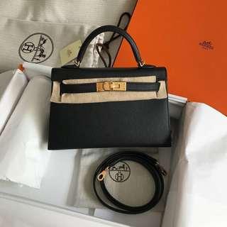 全新Hermes Mini Kelly II 黑金 epsom皮 k20