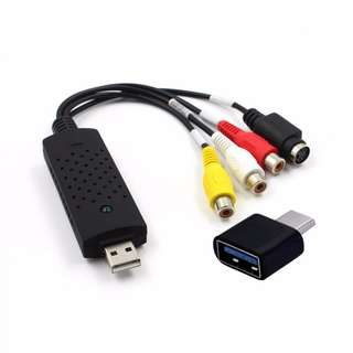 USB Video Audio VHS to DVD Converter Video Capture Card + USB 3.1 Type-C Male to USB 3.0 Female Converter OTG Adapter