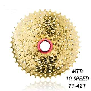 🆕! Gold 10 Speed 11T - 42T MTB Cassette    #OK