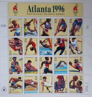 1996 阿特蘭大奧運郵票特別版張(背後有description)