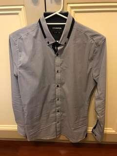 Blue Patterned Dress Shirt (Slim, Small)