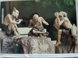 Set of 3 old men playing chess