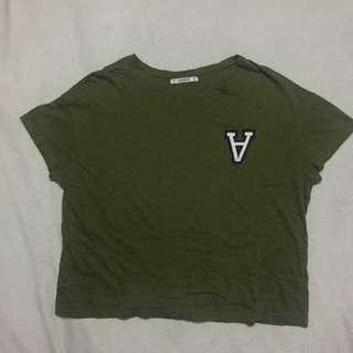 "Pull & Bear ""A"" Army Green Tee"
