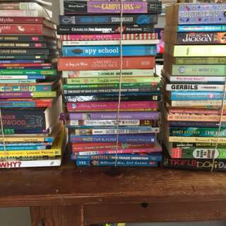 3 stacks of children books