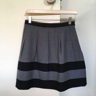 Grey and black A-line skirt