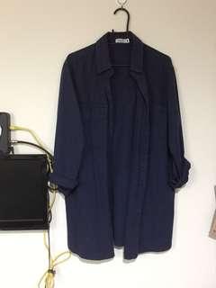 🚚 深藍牛仔中長版襯衫#畢業兩百元出清