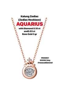 Zodiac Necklace Aquarius (Kalung zodiac)