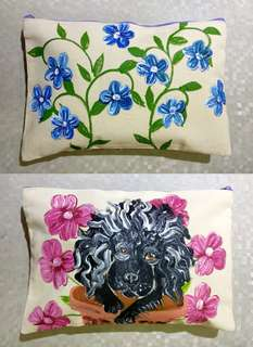 New Poodle Handpainted Pouch