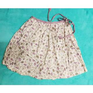 Floral Skirt with Side Ribbon