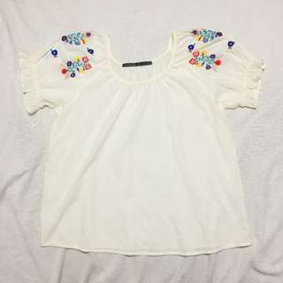 Boho Peasant Top with Floral Embroidery