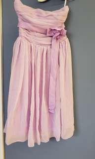 紫色low cut 晚裝裙