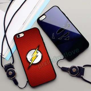 The flash and superman phone casing