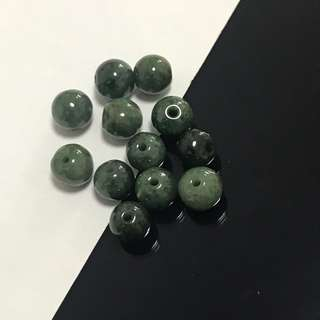 Natural A Grade Dark Green Jade Beads 10 Pieces for $3