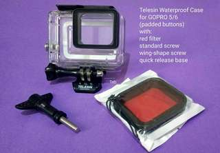 Telesin Waterproof case for GOPRO HERO Black 5/6 (padded button)  with red filter