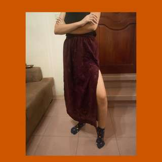 90s Long Skirt with Thigh-high Slits