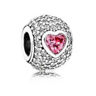 Pandora Pink Sapphire Diamond Heart Charm