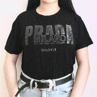PRADA BLACK GRAPHIC SHIRT
