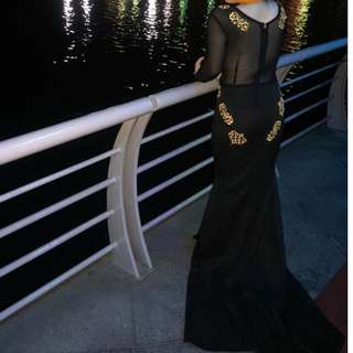 black long gown w/ sleeves for rent (see through back) for prom/debut/ocasssions