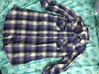 Checkered polo dress purple button up flannel