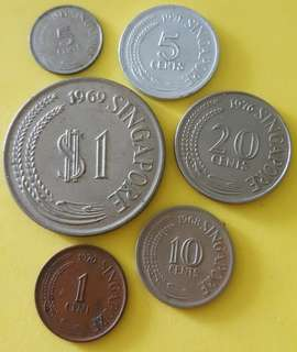 SINGAPORE COINS  SET 6 in 1