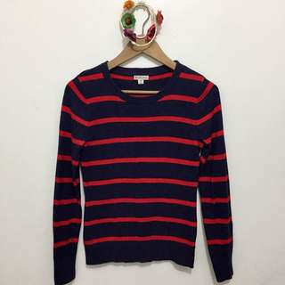 Red & Navy Blue Striped Knitted Pullover