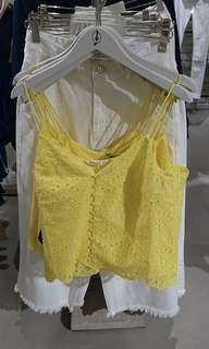 Stradivarius Yellow Embroidered Top