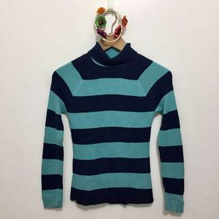 Light & Dark Blue Striped Turtle Neck Knitted Pullover