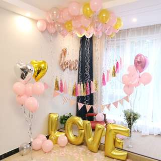 DIY Pink and Gold theme Balloons Decorations!