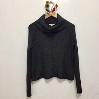 Charcoal Gray Knitted Cowl Neck Pullover | Fits XS - M