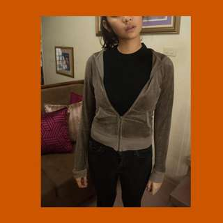 Moss Grey Juicy Couture Cropped Hoodie