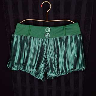 Metallic Green Electric Pleated Shorts