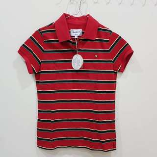 🚚 全新附吊牌專櫃真品POLP衫領子 紅紋條Arnold Palmer(雨傘牌上衣size:38)M可穿市價2650元中國製 #女裝半價拉