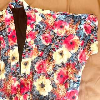 Pink floral kimono top