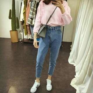 🚚 💥韓版高腰直筒牛仔褲
