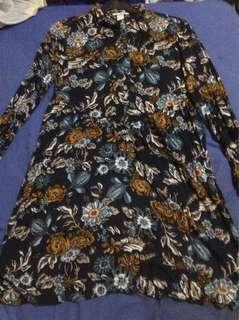 Navy Blue Floral Button Up Dress