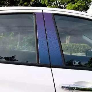 Honda Vezel HRV accessories - door pillar protector (multitone purple carbon fibre texture sticker)