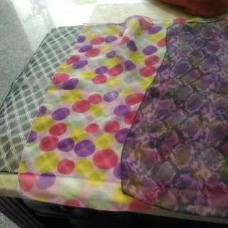 有3色 格紋/圓點普普風/紫墨色四方絲巾