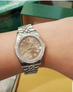 Rolex All Steel Junior Size 31mm in Customized Diamond Dial and Diamond Bezel Quickset ❤️BIG SALE P275k ONLY❤️ In mint condition With box Swipe for detailed pics