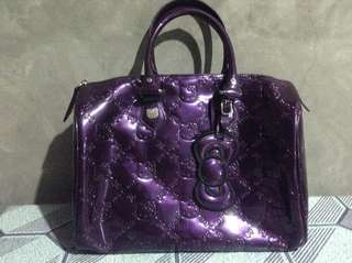 LOUNGEFLY Hello Kitty Purple Patent Embossed City Tote