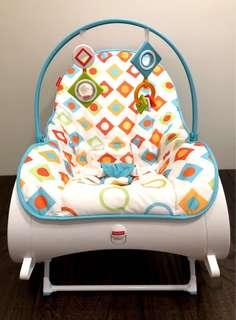 ‼️極新二手‼️新款‼️幾何圖形‼️美國 Fisher Price 費雪 可攜式安撫躺椅