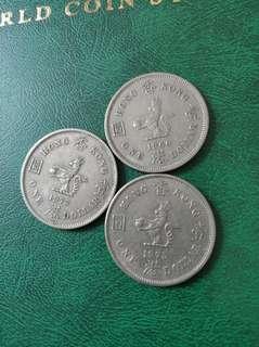 1960年大一元港币1只. 1975年2隻共收25元