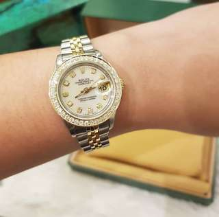 Rolex Ladies Datejust twotone 26mm white dial with dias and diamond bezel Quickset ❤️BIG SALE P215k ONLY❤️ In mint condition With box only Swipe for detailed pics  Cash/card/layaway accepted  Guaranteed authentic or your money back!